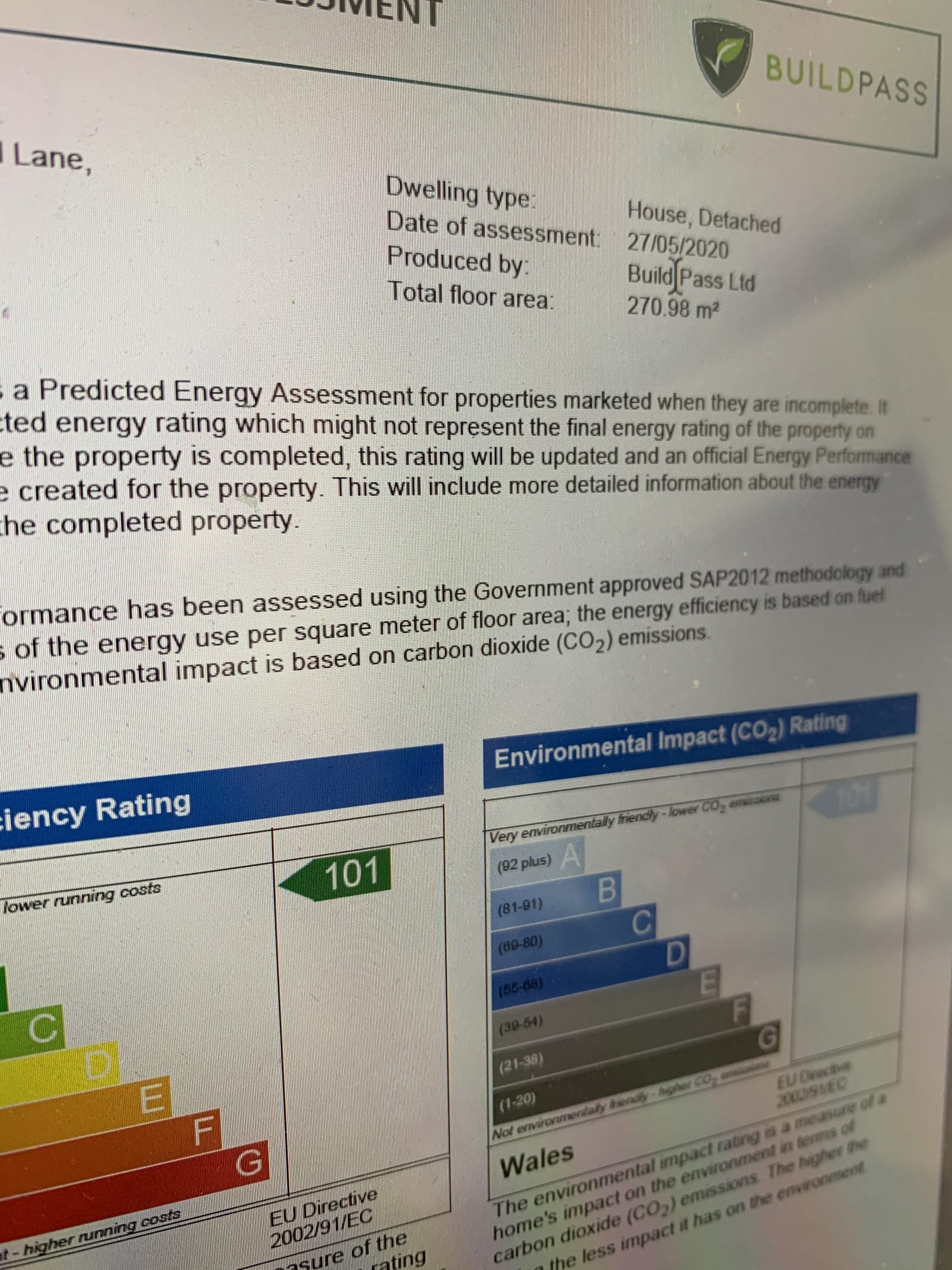 Energy Performance Certificate and SAP Calculations